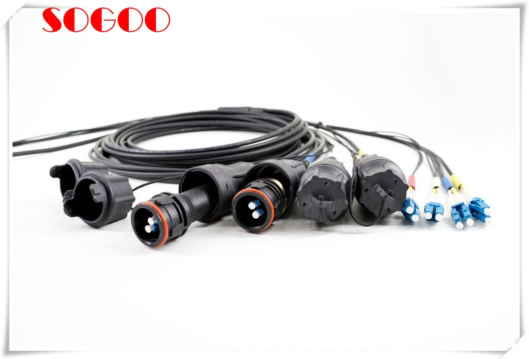 Indoor Outdoor Rated with Fullaxs Fiber Optic 1 - Fiber Optic Armored Patch Cable 2 Core FullAXS To LC IP 67 Waterproof Jumpers