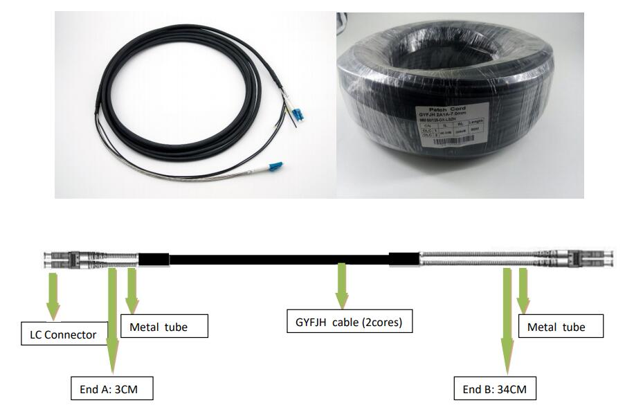 1 1 - Outdoor Protected Branch Optical Cable Parts with Armored Branch-DLC-DLC-Single-mode-2 Core (LSZH)
