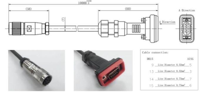 Ue3c72f41439c4035a8e9ab4a2b4f739eu - DS-01024084-003 AISG RET Cable L= 5m AISG TO DB15 For ZTE